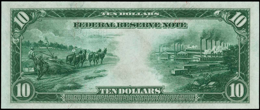harvesting hemp on the 194 us 10 dollar bill